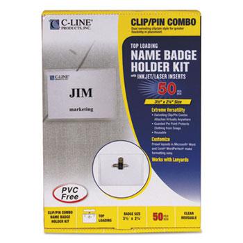 C-Line® Name Badge Kits, Top Load, 3 1/2 x 2 1/4, Clear, Combo Clip/Pin, 50/Box