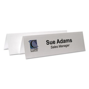 C-Line® Embossed Tent Cards, White, 8 1/2 x 2 1/2, 2 Card/Sheet, 50 Sheets/Box