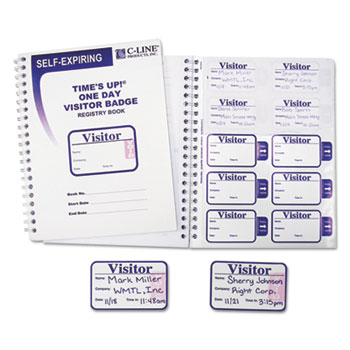 Time's Up Self-Expiring Visitor Badges w/Registry Log, 3 x 2, WE, 150 Badges/Box