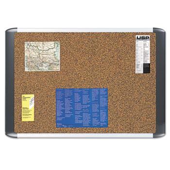 MasterVision® Tech Cork Board, 24x36, Silver/Black Frame