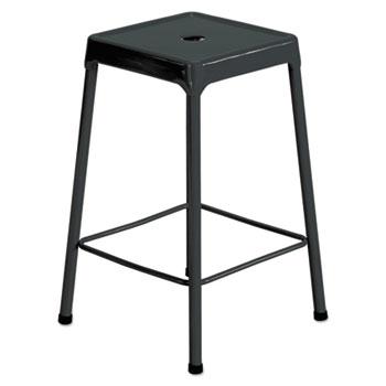 Counter-Height Steel Stool, Black