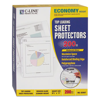 """C-Line® Economy Weight Poly Sheet Protector, Reduced Glare, 2"""", 11 x 8 1/2, 200/BX"""