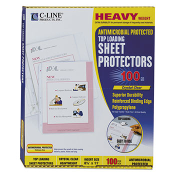 """C-Line® Hvywt Poly Sht Protector, Clear, Top-Loading, 2"""", 11 x 8 1/2, 100/BX"""