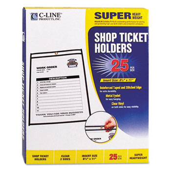 C-Line® Shop Ticket Holders, Stitched, Both Sides Clear, 50 Sheet Capacity, 8-1/2 x 11, 25/BX