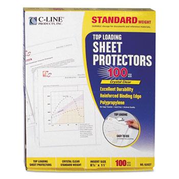 """C-Line® Standard Weight Polypropylene Sheet Protector, Clear, 2"""", 11 x 8 1/2, 100/BX"""