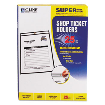 C-Line® Shop Ticket Holders, Stitched, Both Sides Clear, 75 Sheet Capacity, 9 x 12, 25/BX