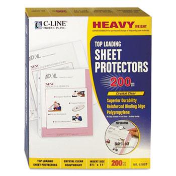 """Heavyweight Polypropylene Sheet Protector, Clear, 2"""", 11 x 8 1/2, 200/BX"""