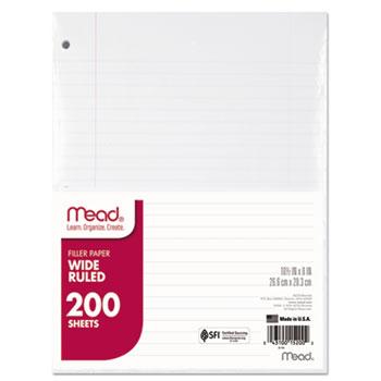 Mead® Filler Paper, 15lb, Wide Rule, 3 Hole, 10 1/2 x 8, 200 Sheets