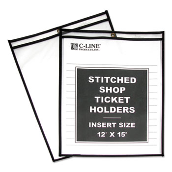 """Shop Ticket Holders, Stitched, Both Sides Clear, 75"""", 12 x 15, 25/BX"""