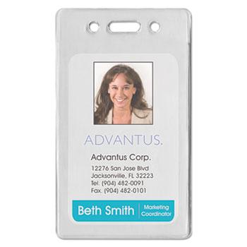 Advantus Proximity ID Badge Holder, Vertical, 2 3/8w x 3 3/8h, Clear, 50/Pack