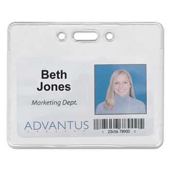 Advantus Proximity ID Badge Holder, Horizontal, 3 3/8w x 2 3/8h, Clear, 50/Pack