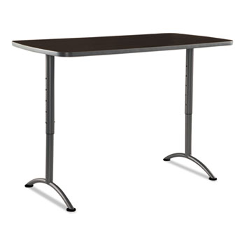 ARC Sit-to-Stand Tables, Rectangular Top, 30w x 60d x 42h, Walnut/Gray