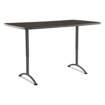 ARC Sit-to-Stand Tables, Rectangular Top, 36w x 72d x 42h, Walnut/Gray