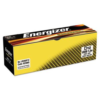 Energizer® Industrial Alkaline Batteries, D, 12/BX