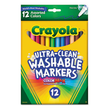 Crayola® ColorMax™ Markers, Ultra-Clean Washable, Assorted, Fine Line, 12/ST