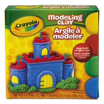 Crayola® Modeling Clay, Four 1/4 lb. pcs., Red, Yellow, Blue, Green