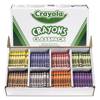Crayola® Large Size, 8 Colors, Crayon Classpack, 400/BX