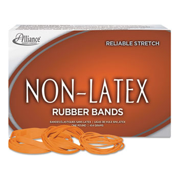 Non-Latex Rubber Bands, Sz. 33, Orange, 3 1/2 x 1/8, 850 Bands/1lb Box