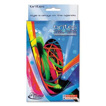 Brites Pic-Pac Rubber Bands, Blue/Orange/Yellow/Lime/Purple/Pink, 1-1/2-oz Box