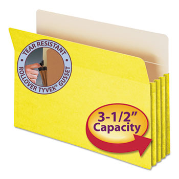 """Smead® 3 1/2"""" Exp Colored File Pocket, Straight Tab, Legal, Yellow"""