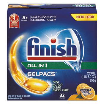 Dish Detergent Gelpacs, Orange Scent, Box of 32 Gelpacs