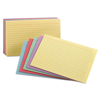 Ruled Index Cards, 3 x 5, Blue/Violet/Canary/Green/Cherry, 100/Pack