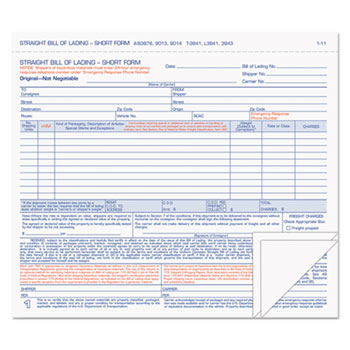 Hazardous Material Short Form, 8 1/2 x 7, Three-Part Carbonless, 50 Forms