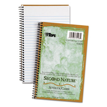 TOPS™ Second Nature Subject Wirebound Notebook, Narrow, 5 x 8, White, 80 Sheets