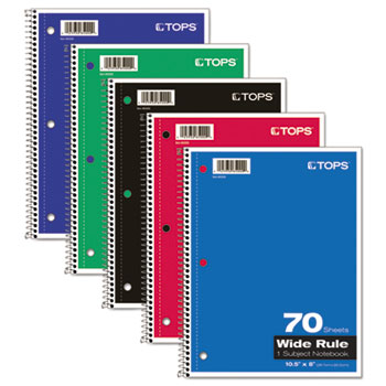TOPS™ Coil-Lock Wirebound Notebooks, Legal/Wide, 10-1/2 x 8, White, 70 Sheets