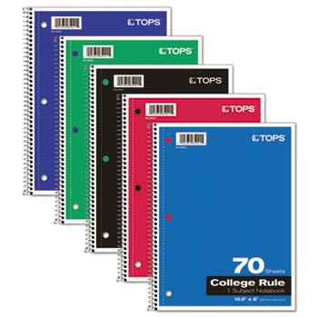 TOPS™ Coil-Lock Wirebound Notebooks, College/Medium, 10-1/2 x 8, White, 70 Sheets