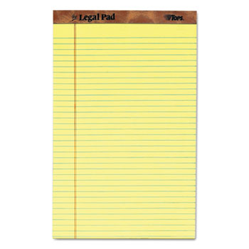 The Legal Pad Ruled Perf Pad, Legal/Wide, 8 1/2 x 14, Canary, 50 Sheets, Dozen