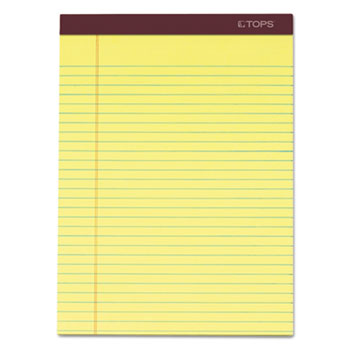 Docket Ruled Perforated Pads, 8 1/2 x 11 3/4, Canary, 50 Sheets, Dozen