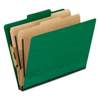 Pendaflex® Six-Section Colored Classification Folders, Letter, Green, 10/Box