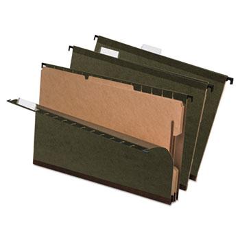 SureHook Reinforced Hanging Folder, 2 Divider, Legal, Standard Green, 10/Box