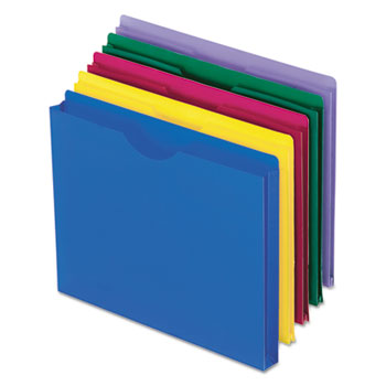 Pendaflex® Expanding File Jackets, Letter, Poly, Blue/Green/Purple/Red/Yellow, 10/Pack