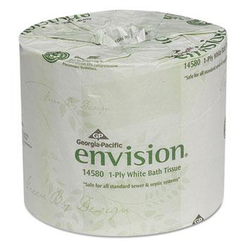 One-Ply Bathroom Tissue, 1210 Sheets/Roll, 80 Rolls/Carton