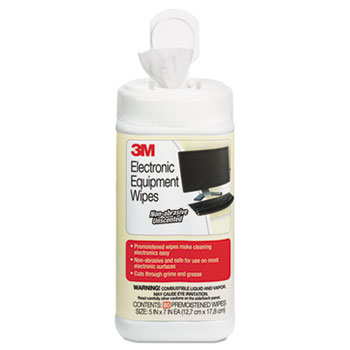 3M™ Electronic Equipment Cleaning Wipes, 5 1/2 x 6 3/4, White, 80/Canister