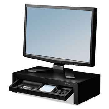 """Adjustable Monitor Riser with Storage Tray, 16"""" x 9 3/8"""" x 6"""", Black Pearl"""