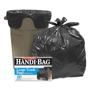Super Value Pack Trash Bags, 30gal, .65mil, 30 x 33, Black, 60/Box