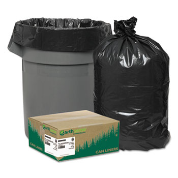 Earthsense® Commercial Recycled Can Liners, 33gal, 1.25mil, 33 x 39, Black, 100/Carton