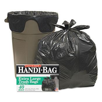 Handi-Bag® Super Value Pack Trash Bags, 33gal, .65mil, 32.5 x 40, Black, 40/Box