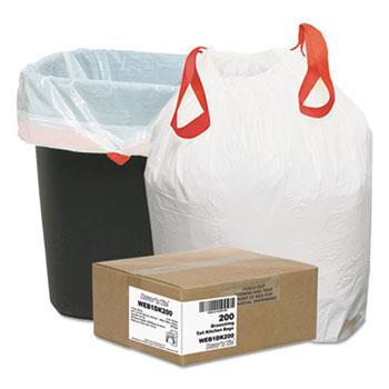 Heavy-Duty Trash Bags, 13gal, .9mil, 24.5 x 27 3/8, White, 200/Box