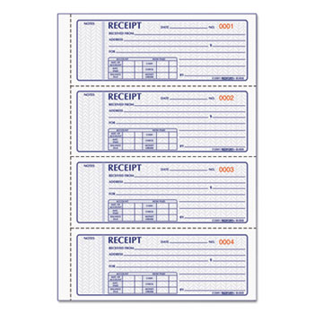 Rediform® Money Receipt Book, 2 3/4 x 7, Carbonless Triplicate, 100 Sets/Book