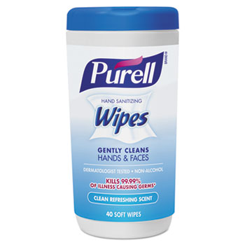 Hand Sanitizing Wipes, 5 7/10 x 7 1/2, Clean Refreshing Scent, 40/Canister