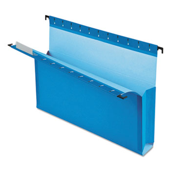 """SureHook Reinforced Hanging Box Files, 3"""" Exp with Sides, Letter, Blue, 25/Box"""