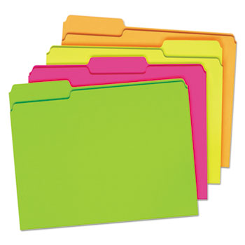 Pendaflex® Glow File Folders, 1/3 Cut Top Tab, Letter, Assorted Colors, 24/Box