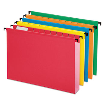 Pendaflex® SureHook® Poly Laminate Hanging Folders, 1/5 Tab, Letter, Assorted, 20/BX