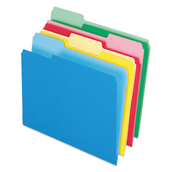 CutLess/WaterShed File Folders, 1/3 Cut Top Tab, Letter, Assorted, 100/Box