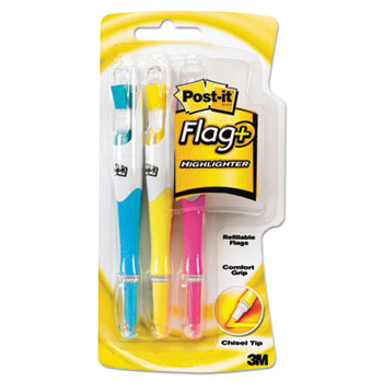 Flag + Highlighter, Blue/Pink/Yellow, 50 Flags, 3/Pack