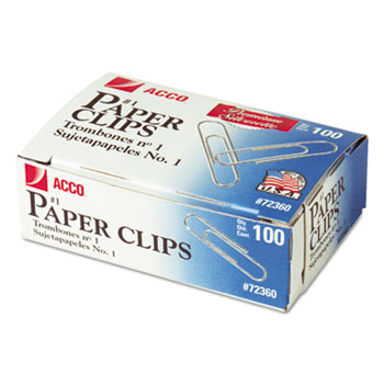 ACCO® Smooth Finish Premium Paper Clips, Wire, No. 1, Silver, 100/Box, 10 Boxes/Pack